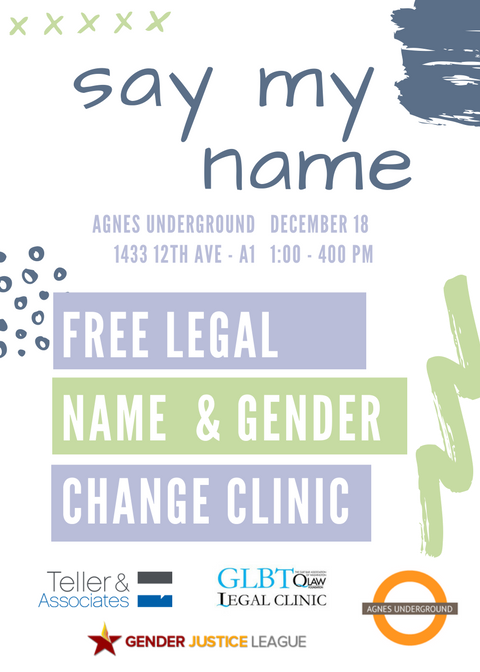"""Gender Justice League Organizes """"Say My Name"""" Name and Gender Marker Change Clinic"""