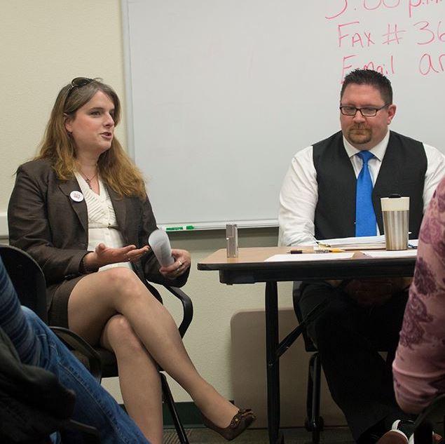 Elayne Wylie in a meeting