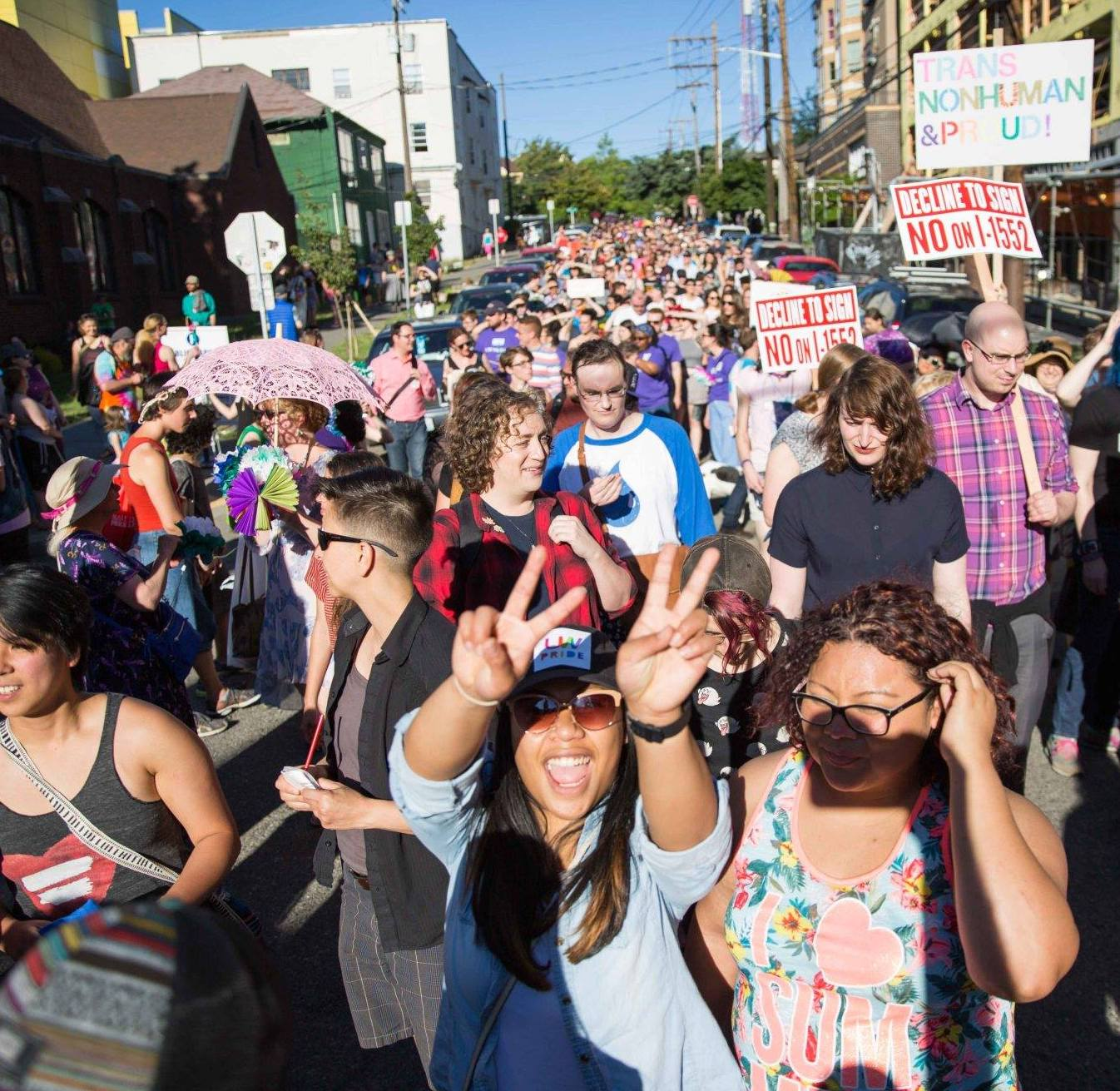 A crowd at the annual Trans Pride march