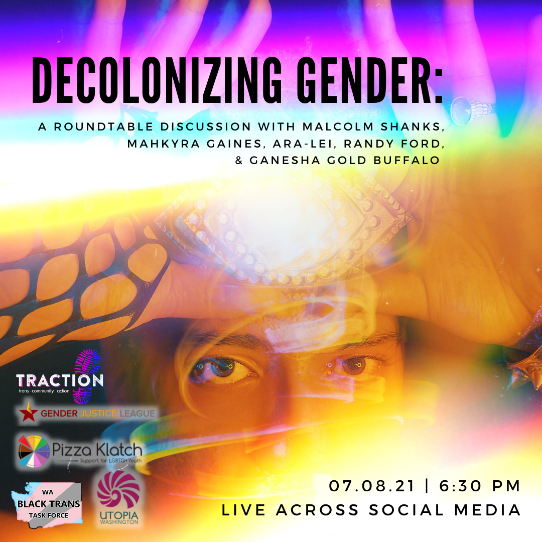 Promotional graphic for Decolonizing Gender event co-hosted by GJL